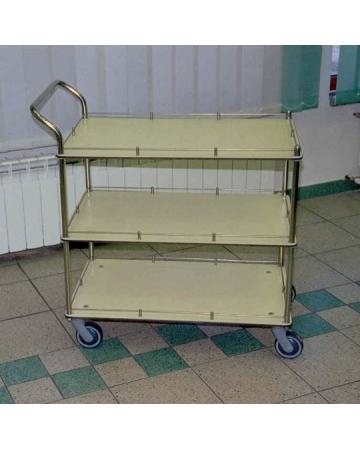 ◾Stainless steel trolley three shelves in HPL laminate art. 310610